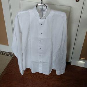 Mens Tuxedo LS White Shirt Sz L